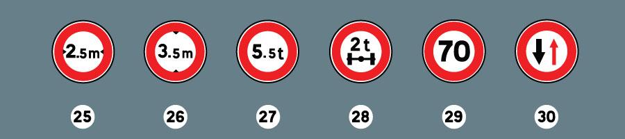 les panneaux d'interdiction 7