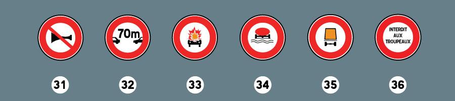 les panneaux d'interdiction 8