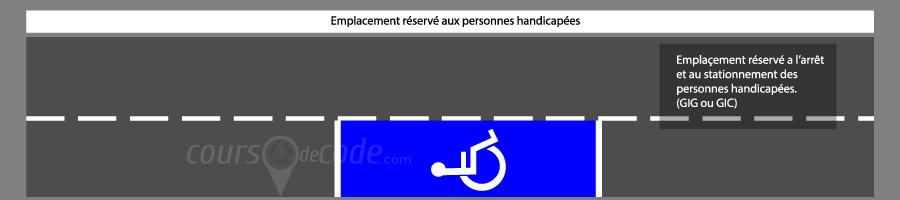 emplacement réservé aux personnes handicapées