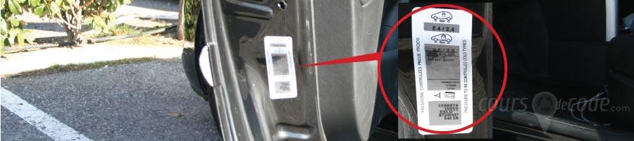plaque indicative de pression des pneumatiques