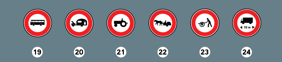 Les panneaux d'interdiction 6